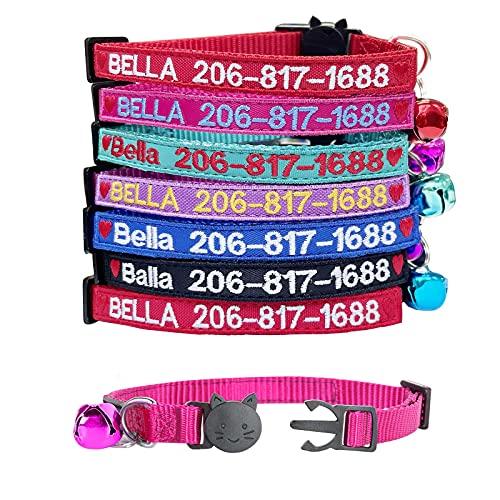Graceful life Katzenhalsband,Benutzerdefinierte Breakaway Cat Collar Personalisierte Cat-ID Collar Bestickte Pet Name Telefon Sicherheitshalsbänder mit Glocke (5 Color, Heart)