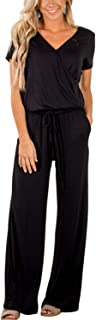 Women Casual Short Sleeve V Neck Long Pants Loose Wide Legs Jumpsuits Rompers Overalls with Pockets