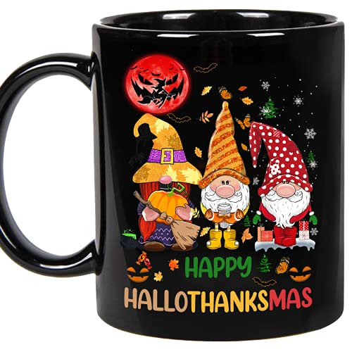 Gnomes Thanksgiving, Halloween and Merry Christmas - Happy Hallothanksmas Gnomes, Cat, Unicorn Tee 2020-2021 Gift Cups - Ceramic Coffee Mug (Black, 11oz)