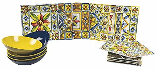 Vajilla de 18 piezas de porcelana y gres Villa d'Este Costera