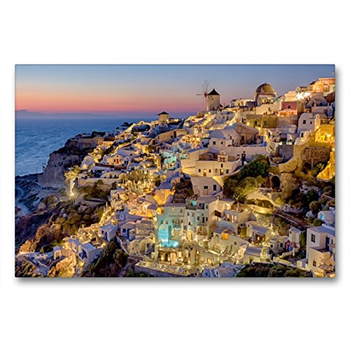 Premium Textil-Leinwand 90 x 60 cm Quer-Format Santorini -