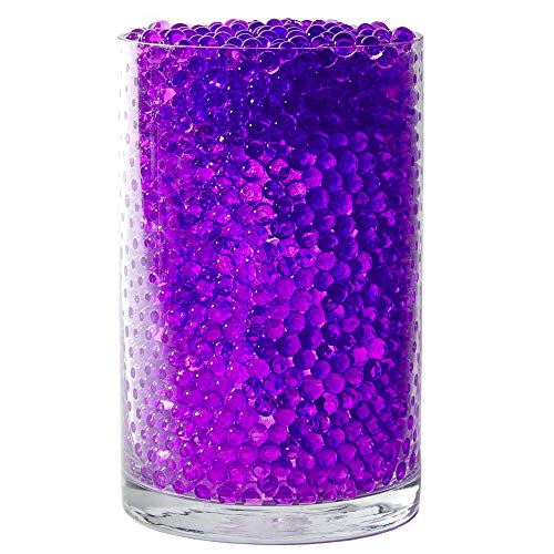 SooperBeads 20,000 Vase Filler Beads Gems Water Growing Crystal Clear Translucent Gel Pearls for Vases, Wedding Centerpiece, Floral Decoration, Plants, Kids Sensory Play Table Activities (Purple)