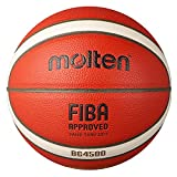 Molten BG4500 Basketball Indoor FIBA Approved Official BBL Game Ball Premium Composite Leather Suitable for Boys Age 14 or Adult Training Basketballs