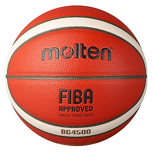 Molten BG4500 Basketball, Indoor, FIBA Approved, Official BBL Game Ball, Premium Composite Leather, Size 7, Orange/Ivory, Suitable for Boys Age 14 & Adult