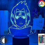 KangYD Luz de noche 3D Sasuke Uchiha Face, Lámpara de ilusión óptica LED, C - Touch Crack Blanco (7 colores), Luz creativa, Lámpara de noche