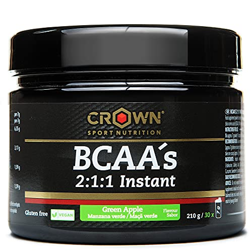 Crown Sport Nutrition BCAA 2:1:1 Instant, aminoácidos ramificados de disolución instantánea para deportistas, Sabor de Manzana Verde - 210 g