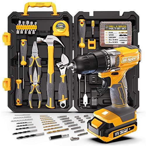 Hi-Spec 80-teiliges Heimwerker Kit & 18V Bohrschrauber Set. Reparatur & Wartungsset DIY-Handwerkzeuge für Haushalt, Büro & Hobbykeller. Alles in einem Aufbewahrungskoffer