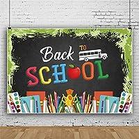 新しい7x5ft学校に戻る背景スクールバス学習ツール黒板アップル写真背景オンライン教育学校シーズン学生教師生徒写真背景スタジオビデオ小道具