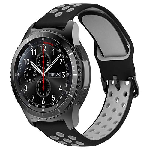 MroTech Correa 22mm Silicona Compatible para Samsung Gear S3 Frontier/Classic/Galaxy Watch 46mm Pulsera Repuesto para GTR 47MM/Huawei Watch GT/Active/Elegant/GT2 46mm 22 mm Banda de Reloj, Negro/Gris