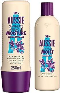 Aussie Miracle Moist Shampoo, 300 ml and 3 Minute Miracle Moist, 250 ml