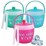 Eiskühleimer aus Kunststoff mit Zange für Grill, Picknick, Party, Weinkühler, Getränkehalter