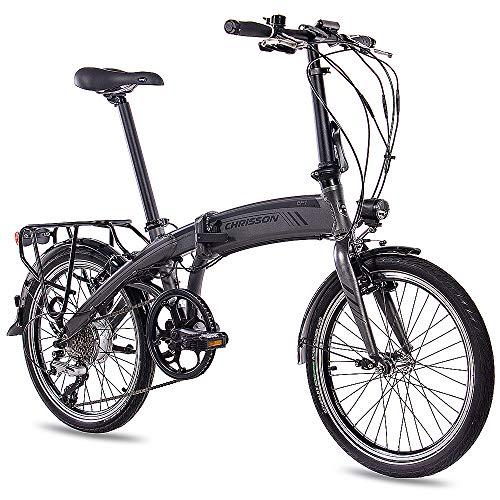 CHRISSON 20 Zoll E-Bike City Klapprad EF1 grau - E-Faltrad mit Bafang Nabenmotor 250W, 36V und 30 Nm, Pedelec Faltrad für Damen und Herren, praktisches Elektro Klappfahrrad, perfekt für die Stadt