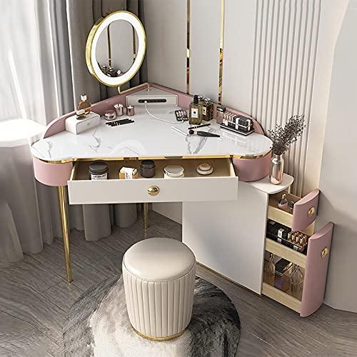 Set da toeletta con Specchio Illuminato, 4 cassetti, Specchio oscurabile Touch Screen a 3 Colori, Set di sgabelli Imbottiti per Ragazza, Camera da Letto per Donna