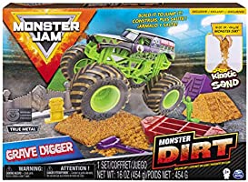 Monster Jam, Grave Digger Monster Dirt Deluxe Set, Featuring 16oz of Monster Dirt and Official 1:64 Scale Die-Cast...