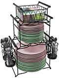 Sorbus Buffet Caddy — 7-Piece Stackable Set Includes Plate, Napkin, and Silverware Holder, 3-Tier Detachable Tabletop Organizer — Ideal for Kitchen, Dining, Entertaining, Parties,Thanksgiving (Black)