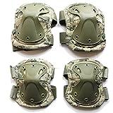 WELLSEM Outdoor Sports Tactical Combat Knee & Elbow Protective Pads Skate Knee 4Pcs/Set (ACU)
