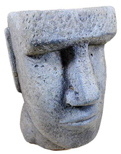 Trends & Trade Pflanztopf Osterinsel Moai Figur 16 x 11 cm Kopf Steinguss Garten Blumentopf Pflanzgefäß Deko GCE F86