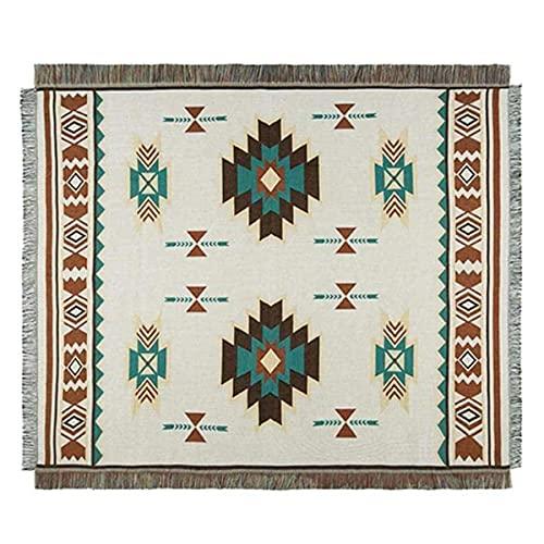 Tribal Étnico Geométrico Azteca Navajo Manta Tirar Alfombras Sofá Arte Decoración Bohemia Manta, Gran Tamaño De Chal Exterior,OffWhite-90X210cm