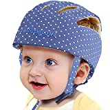 Infant Baby Safety Helmet, IULONEE Toddler Adjustable Protective Cap, Children Safety Headguard Harnesses Protection Hat for Running Walking Crawling (Dot Blue)