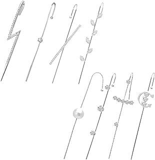 Ear Cuffs Crawler Hook Earrings Pearl Cubic Zirconia Rhinestone Hypoallergenic Piercing Ear Wrap Climbers Stud Earrings fo...