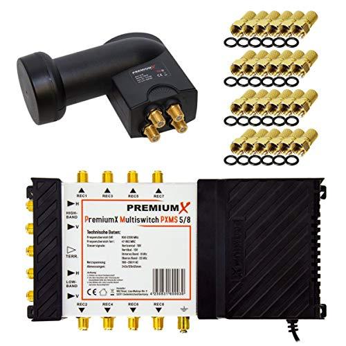 PremiumX Multischalter Set 5/8 Multiswitch Quattro LNB 24x F-Stecker, Satverteiler 1 SAT für 8 Teilnehmer HDTV FullHD 4K UHD 8K