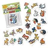24 Tattoos * Waldtiere * als Mitgebsel und Spiel für Kinder | 47325 | Süsse Wald Tiere Sticker Tattoo Kindertattoo Kindergeburtstag Geburtstag