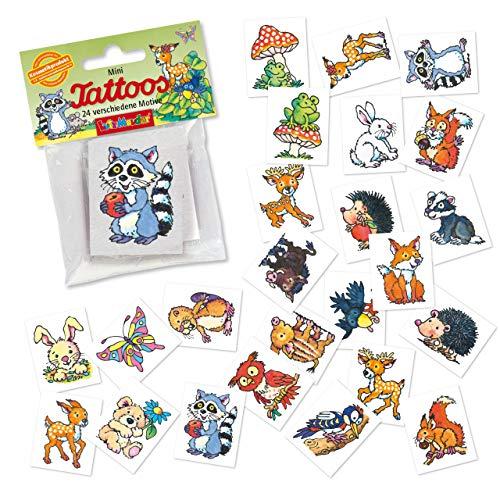 24 Tattoos * Waldtiere * als Mitgebsel und Spiel für Kinder   47325   Süsse Wald Tiere Sticker Tattoo Kindertattoo Kindergeburtstag Geburtstag