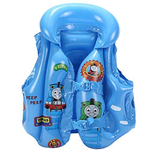 YUESEN Chaleco de Flotación Inflable para Niños, Thomas Chaleco de Nadada para Niños,Ayuda de la Nadada para Niños Chaleco de Pesca Complementos de Flotación para Niños (Azul)