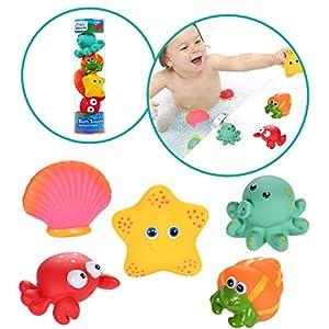Funmo Juguetes de Baño para Bebé Niños,Juguete para el baño, Juguetes de Natación del Flotante,5 Piezas Juguetes de bañera Juguetes acuáticos diversión acuática para niños