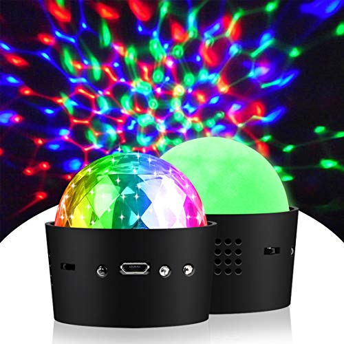 Rofesi Mini Disco Lights, Sound Activated Strobe RGB Stage Atmosphere Party Lights, Disco Ball Lamps 2 Pack for Wedding Dance DJ Room Show Club Christmas (Portable USB Rechargeable)