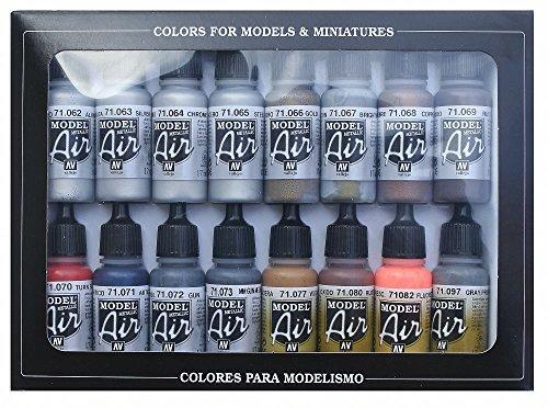 Vallejo Model Air Set: 16 Metallic Colors 17ml Bottles | Acrylic for Airbrush