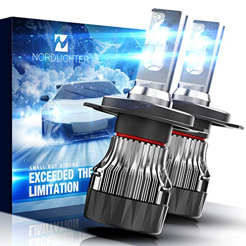 N NORDLICHTER MINI Size H4 9003 LED Headlight Bulb, 10000Lm 6500K All-in-One Conversion Kit - Cool White CREE, Pack of 2