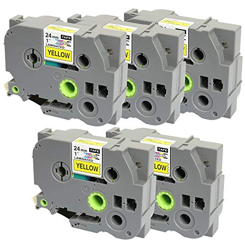 5 x Compatible TZ-S651/TZe-S651 Black on Yellow Extra Strength Adhesive Label Tapes (24mm x 8m) for Brother P-Touch Label Printing Machines