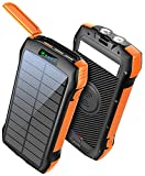 Solar Power Bank, MOSKIZ Portable Charger 33500mAh QC3.0 18W PD 20W Fast Charging, External Battery Pack 10W Wireless 5 Outputs IP67 Waterproof 6W Bright Flashlight for iPhone Android