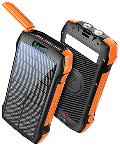Power Bank Fast Charging 33500mAh Solar Phone Charger, Portable Charger Wireless QC3.0 18W PD 20W with 5 Outputs, External Battery IP67 Waterproof 6W Bright LED Flashlight for iPhone Android