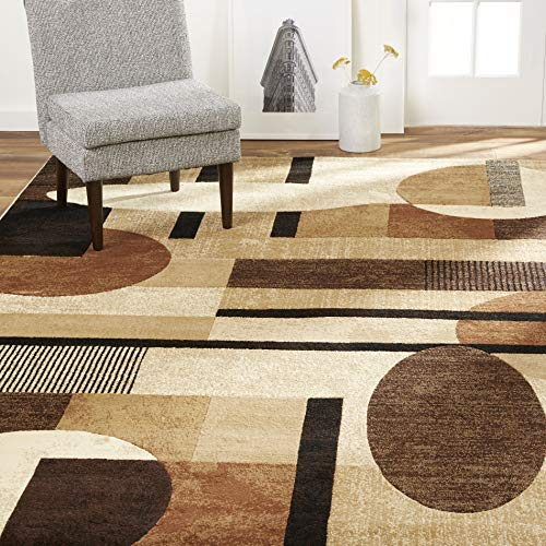 Home Dynamix Tribeca Jasmine Modern Runner Rug, Abstract Brown/Beige 1'9″x7'2″