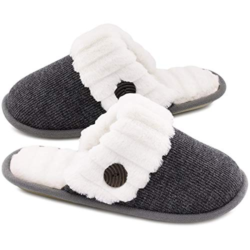 HomeTop Women's Cute Fuzzy Knitted Memory Foam Indoor House Slippers for Families Couples (37-38 (US Women's 7-8), Dark Gray)