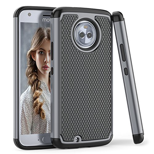 Moto X4 Case, TILL(TM) [Gray] [Shock Absorption] 2 In 1 Dual Layer...
