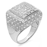 Dazzlingrock Collection 0.50 CT Sterling Silver Fancy Round Diamond Men's Flashy Iced Pinky Ring, Size 8