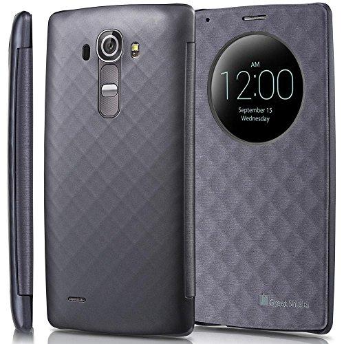 LG G4 Quick Circle Buch Schutz- Hülle Case, GreatShield [SHIFT LX][Premium]Case, Cover, Bumper, Etui, Hart- Schale Flip Diamant Muster mit Sichtfenster &Auto Wakeup/Sleep Funktion für Handy/Smartphone
