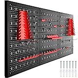 Tectake 403559 Panneau Mural pour Rangement d'Outils Perforé Lot de 3 Panneaux 120 x 2 x 60 cm 25 pcs Crochets Extensible Noir Rouge