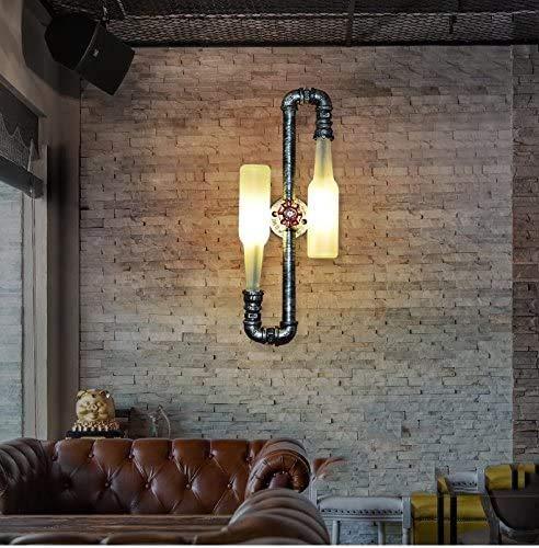 Retro- Art und Weise Retro-Bierflasche Wandleuchte WXP industrielle Rohrwand/kreatives Restaurant Bar Cafe dekorative Lampen Innenbeleuchtung Wandleuchte mit 2 Leuchten,Black