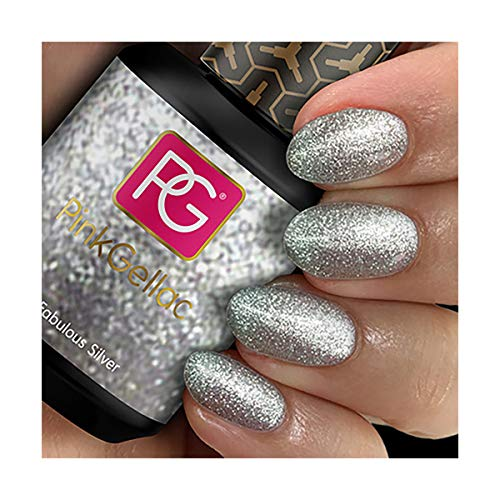 Pink Gellac 129 Fabulous Silver UV Nagellack. Professionelle Gel Nagellack shellac für mindestens 14 Tage perfekt glänzende Nägel