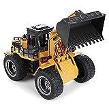 Control remoto Bulldozer Light Toy Modelo de coche Ingeniería Coche de juguete Equipado con cable de carga USB Carro de carro eléctrico Juguetes para niños, Control remoto Tractor Juguete grande sim
