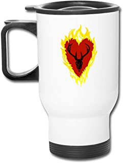 Game Of Thrones Stannis Baratheon Sigil Stagg In A Heart Of Flames 16 Oz Stainless Tumbler Double Wall Vacuum Coffee Mug With Splash Proof Lid For Hot & Cold Drinks
