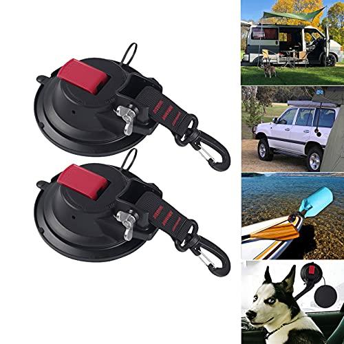 Saugnapf Camping Set, 2 x Saugnäpfe Anker Saughaken Extra Stark bis 20 KG - Auto Spanner Multifunktionaler Saugnapfhalterung mit Befestigung Haken Festbinden für Wohnmobil,...