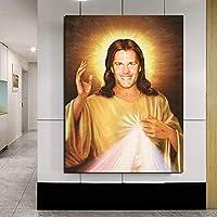 イエスの神の肖像画ヴィンテージポスターミニマリストアートキャンバスプリント壁の写真モダンなホームルームの壁の装飾| 50x70cm /フレームなし