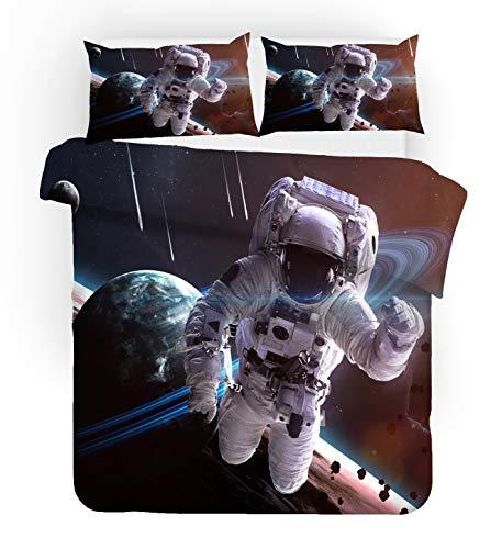 NYLIN Copripiumino Astronauta Set Universo Bambino Astronave Aerospaziale 2/3/4PCS Copripiumini/Lenzuola/Federe,Singolo,Matrimoniale,Kingngolo,Matrimoniale,King (Matrimoniale-200×200cm-3PCS,01)