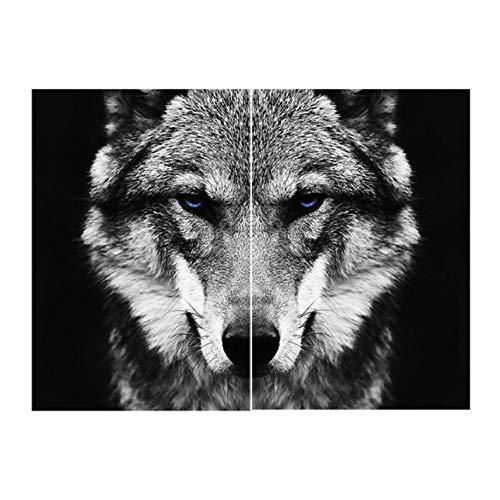 Arte en Blanco y Negro Arte de la Pared Animal Carteles e impresión Lobo Lienzo Pintura Decoración Moderna Imagen para Sala de Estar 40x60cmx2 sin Marco