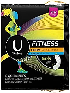 U by Kotex Fitness Liners Regular, 80 Wrapped Daily Liners (Pack of 2)